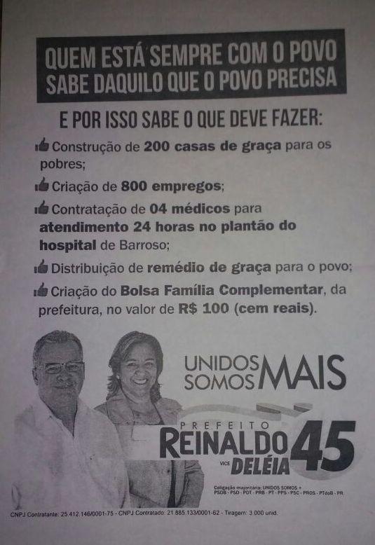 Panfleto distribuído na Campanha